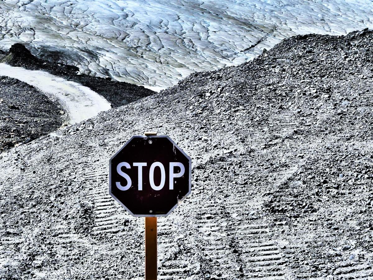 Athabasca Glacier crossroads.