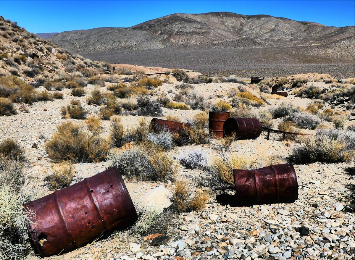 barrels on the desert floor