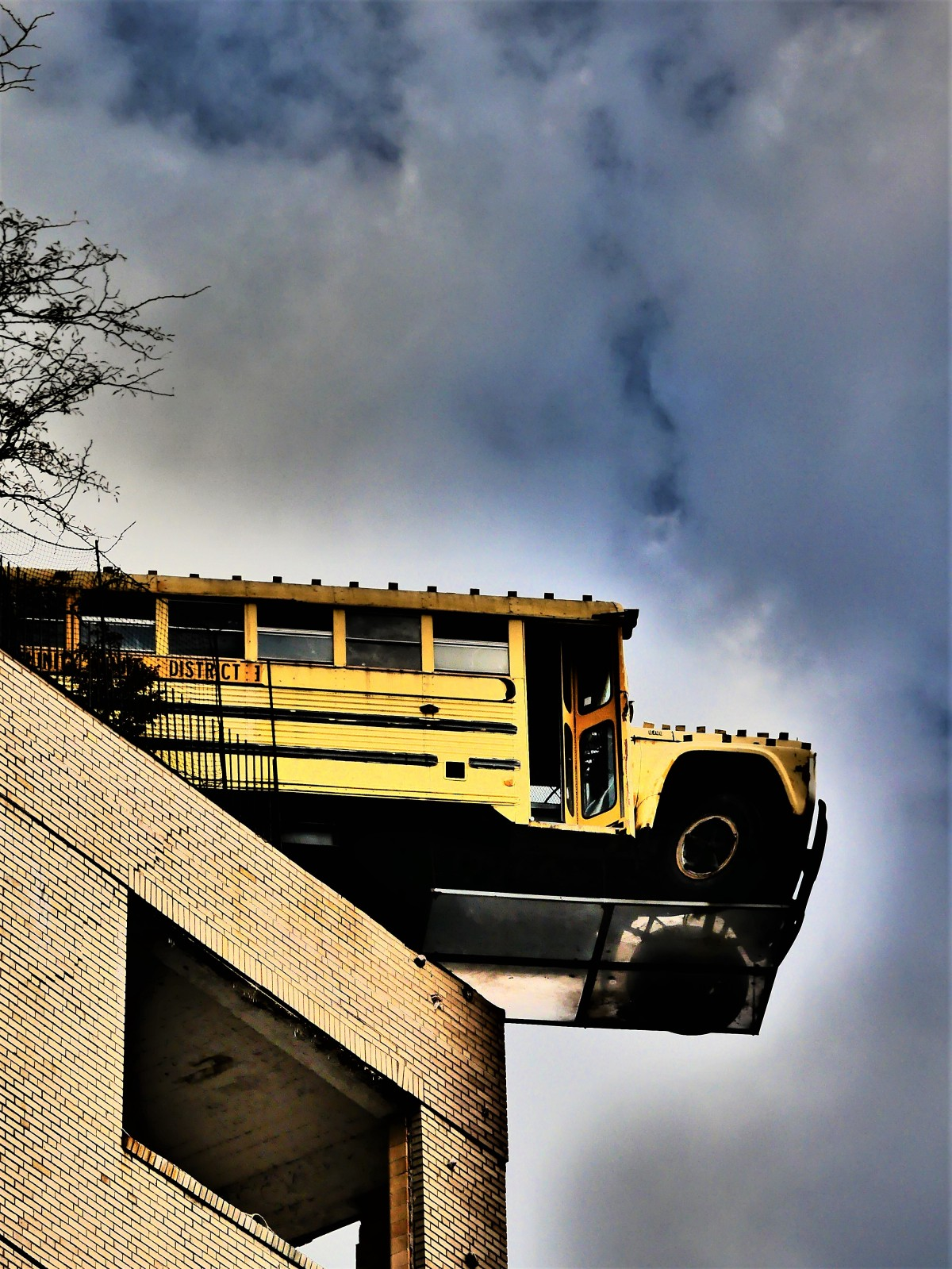bus off the building