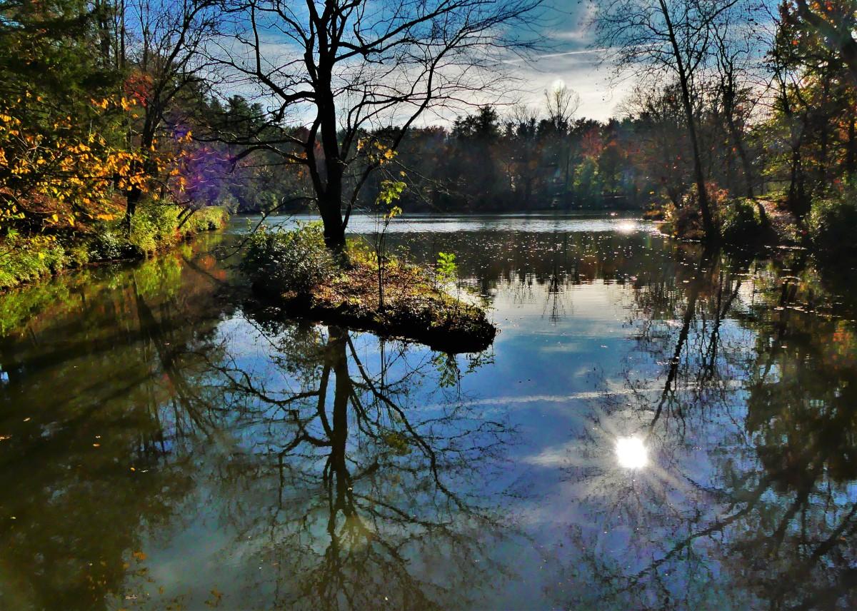 lake gazebo view