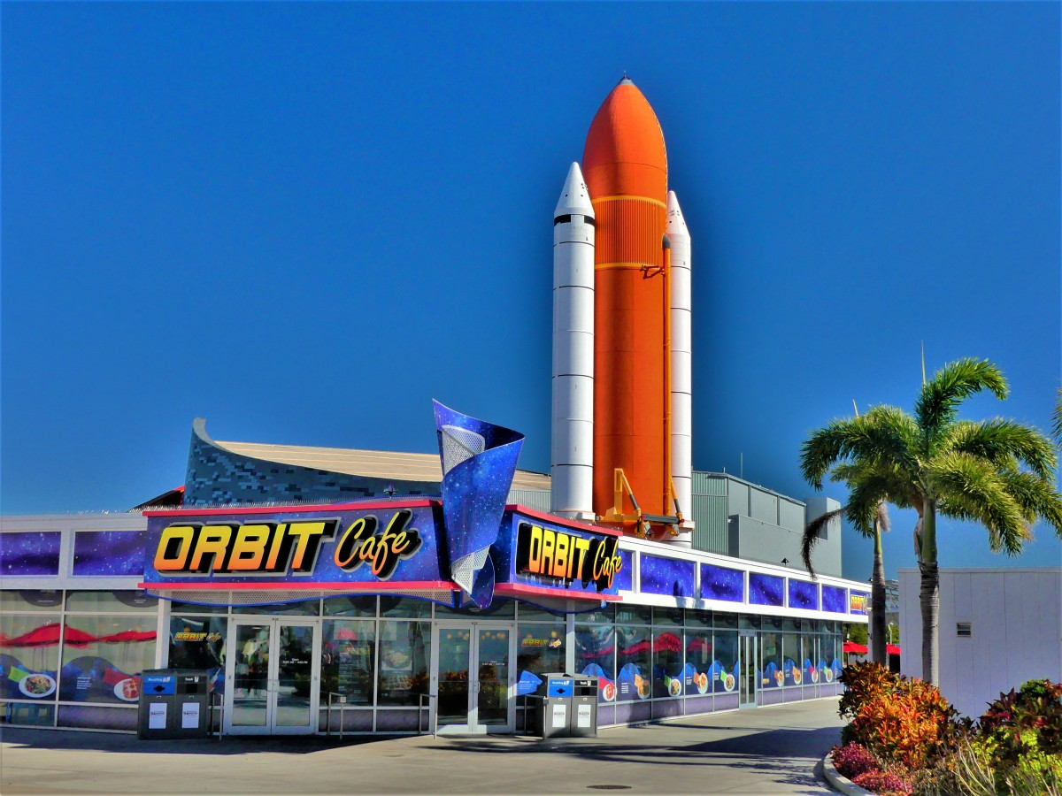Saturn rocket and Orbit Cafe