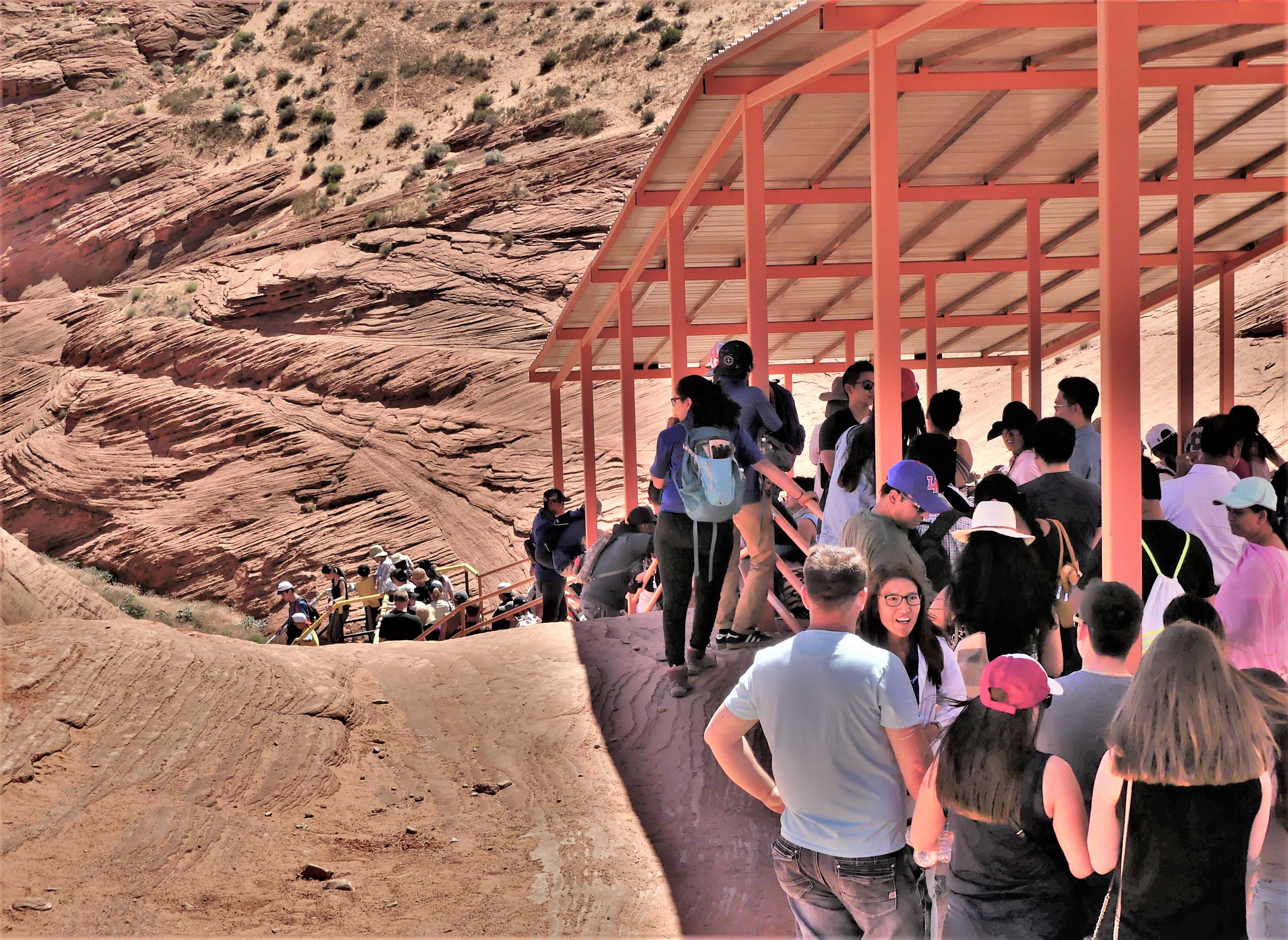 Descending Lower Antelope Canyon trail