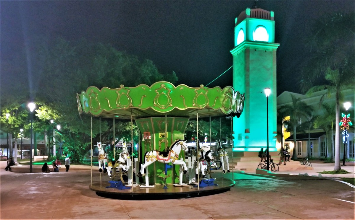 carousel and clock tower