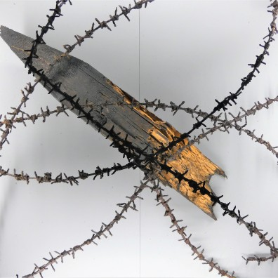 barbed wire and post