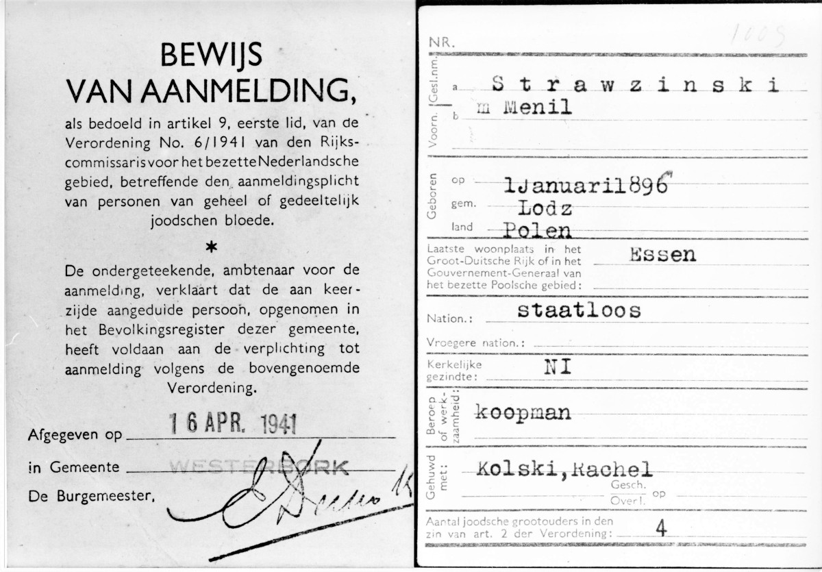 Mnil admission to Westerbork