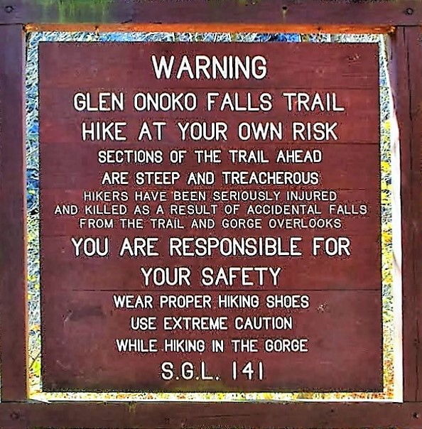 Glen Onoko Falls warning