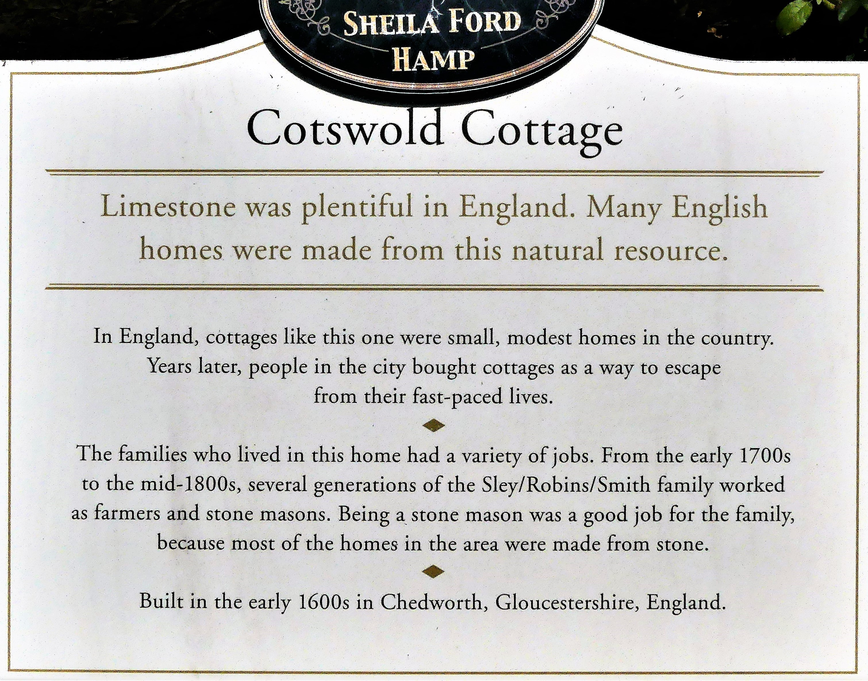 Cotswold Cottage sign