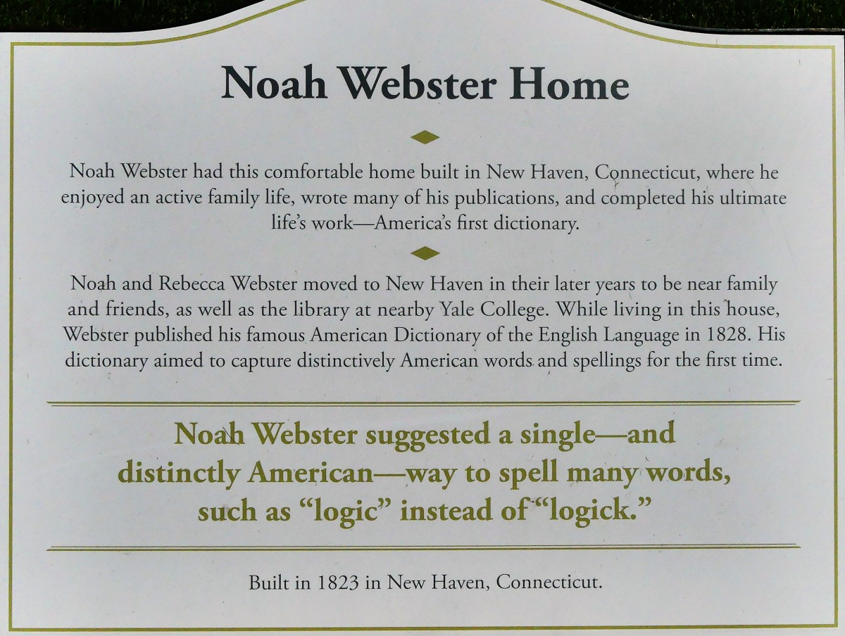 Noah Webster Home sign