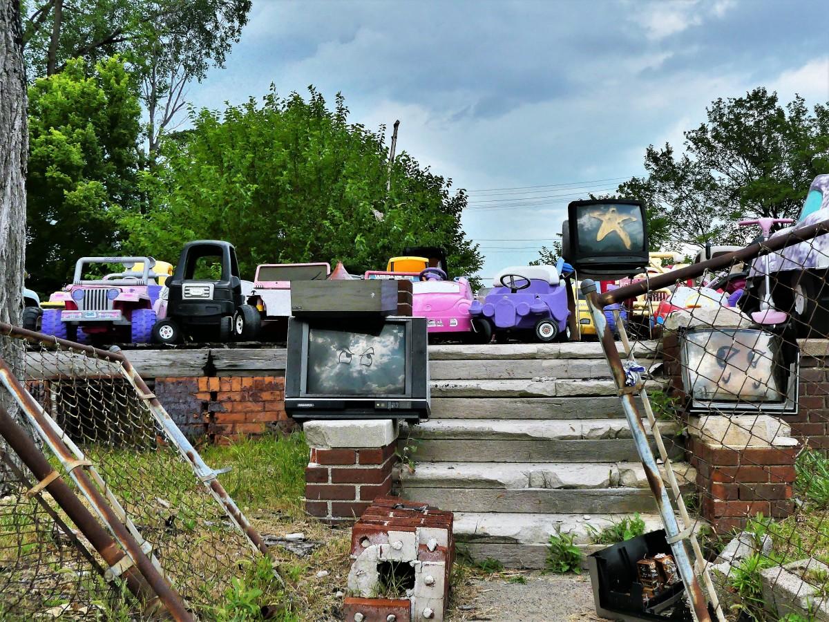 tvs and toy car garage