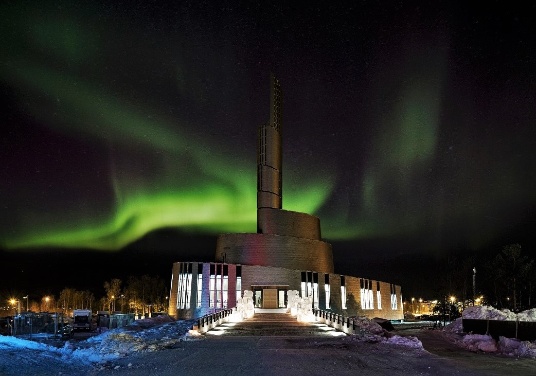 Northern Lights behind the Cathedral